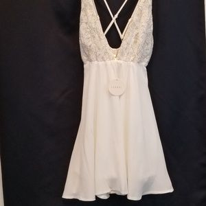 Luxxel White Dress with Gold Thread Lace NWT